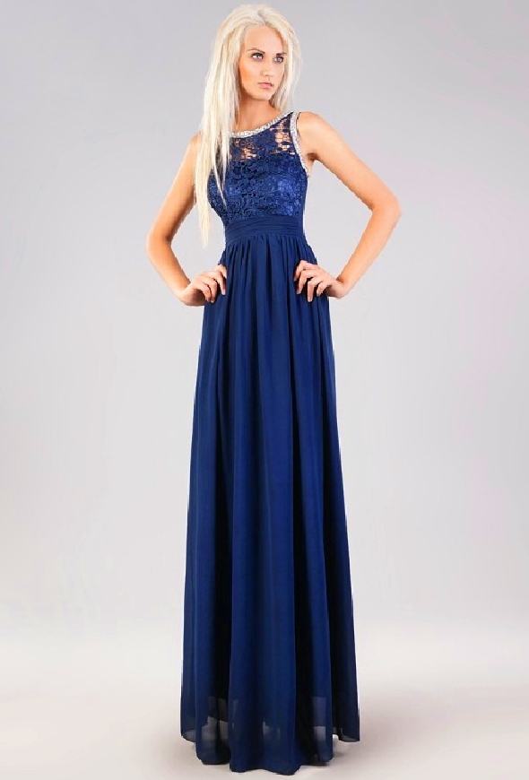 Szyfonowa suknia wieczorowa z koronką i kryształkami- granatowa