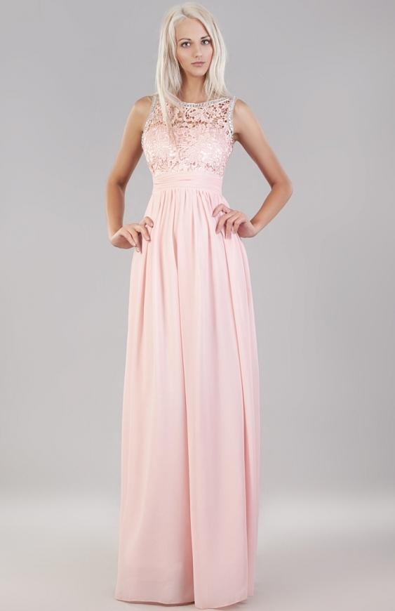 Jasno różowa suknia wieczorowa z koronką i kryształkami | Sukienki dla duhny, na studniówkę, wesele