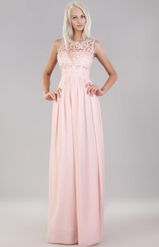 Bardzo dobry Jasno różowa suknia wieczorowa z koronką i kryształkami | Sukienki LS77