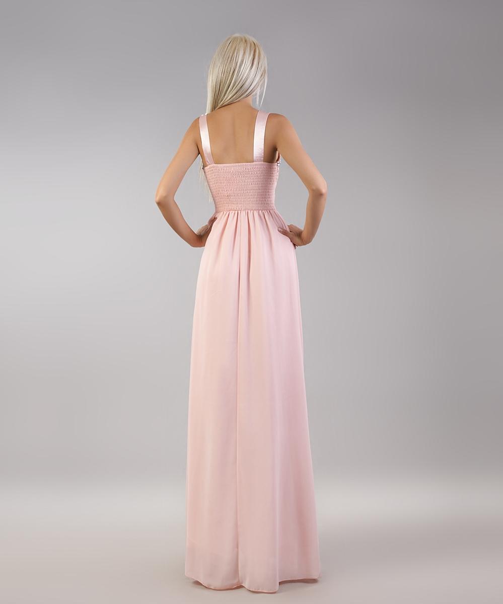 61bef3562a ... Jasno różowa suknia wieczorowa z koronką i kryształkami