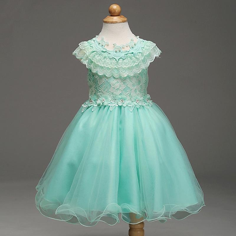 c248556b19 Turkusowa sukienka dla dziewczynki bogato zdobiona koronką - Sklep ...