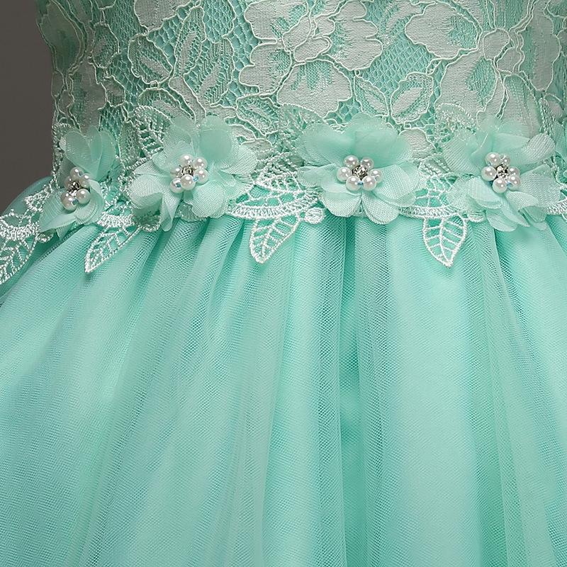 0dab703b9fb9e1 Turkusowa sukienka dla dziewczynki bogato zdobiona koronką - Sklep ...