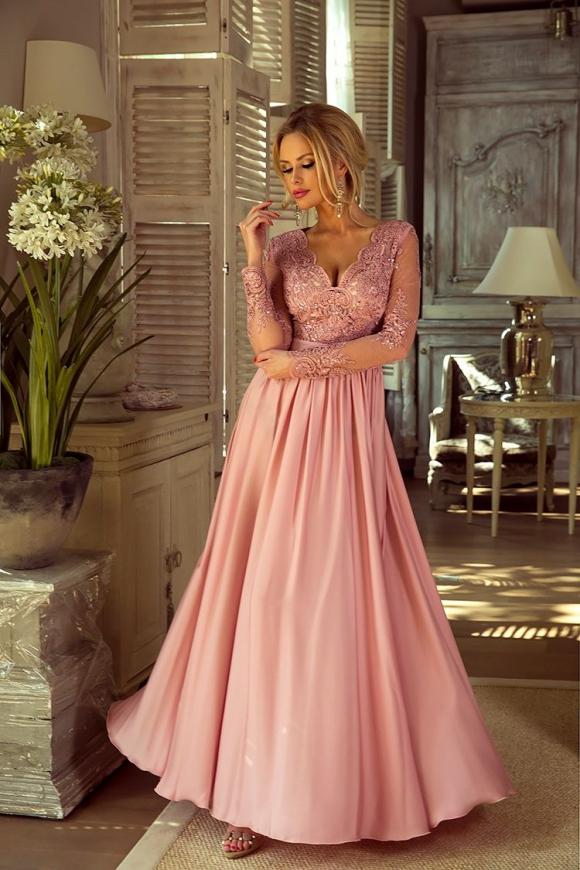 WIeczorowa suknia z długim rękawem | długa sukienka na studniówkę Luna pustynny róż