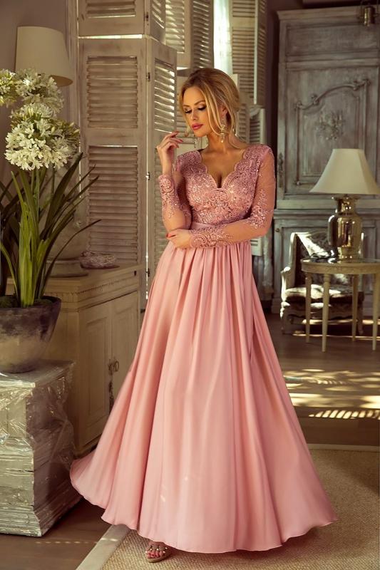 WIeczorowa suknia z długim rękawem   długa sukienka na studniówkę Luna pustynny róż