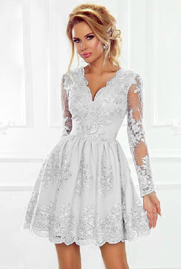 Biała sukienka koronkowa | wieczorowa rozkloszowana Amelia