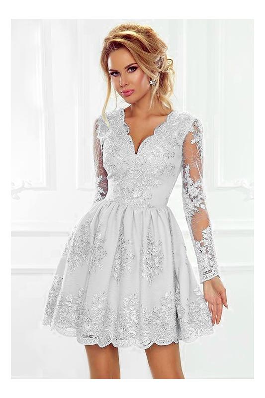 a35410691e642b Biała sukienka koronkowa | wieczorowa rozkloszowana Amelia - Sklep ...