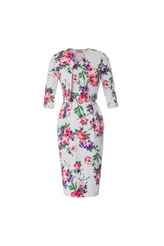 e03601669a Sukienka z żakietem w kwiaty