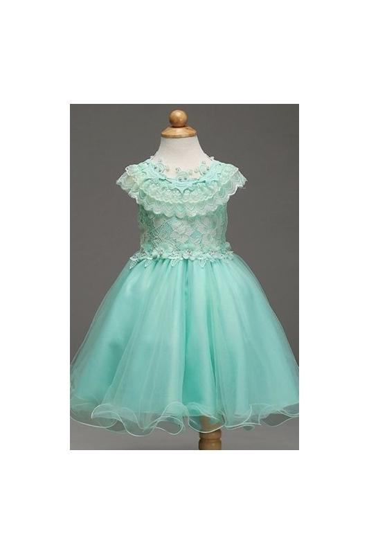c8ed7596 Turkusowa sukienka dla dziewczynki bogato zdobiona koronką