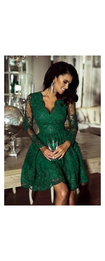 Wieczorowa sukienka koronkowa z cekinami w kolorze butelkowej zieleni - Amelia