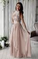 Sukienka wieczorowa szyfonowa zdobiona gipiurową koronką - Kwiatami 3D | beżowa suknia na studniówkę, dla druhny, na wesele