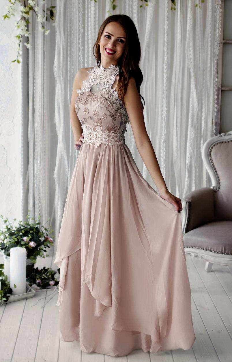 9eaebbe4d8 ... Sukienka wieczorowa szyfonowa zdobiona gipiurową koronką - Kwiatami 3D