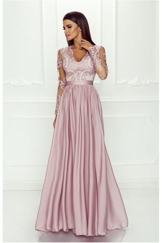 01f1ae13fe Pudrowo różowa sukienka wieczorowa - Luna - Sklep internetowy StyliJa