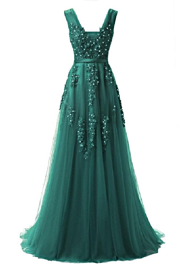 Tiulowa sukienka zdobiona gipiurową koronką | butelkowo zielona suknia wieczorowa