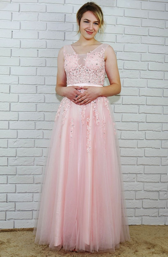 Tiulowa suknia dla druhny, na wesele | długa sukienka jasno różowa