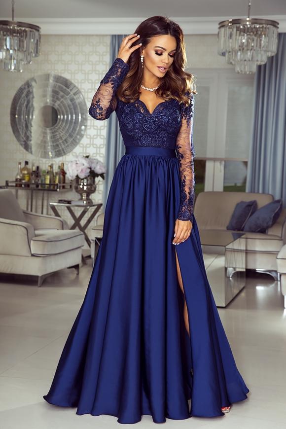 Długa zwiewna suknia na wesele | sukienka z długim koronkowym rękawem Luna karmelowa