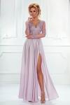 Wieczorowa suknia w kolorze lila róż | długa sukienka na studniówkę, dla druhny, na wesele,