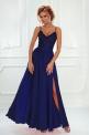 Długa granatowa suknia wieczorowa na cieńkich ramiączkach - Bella