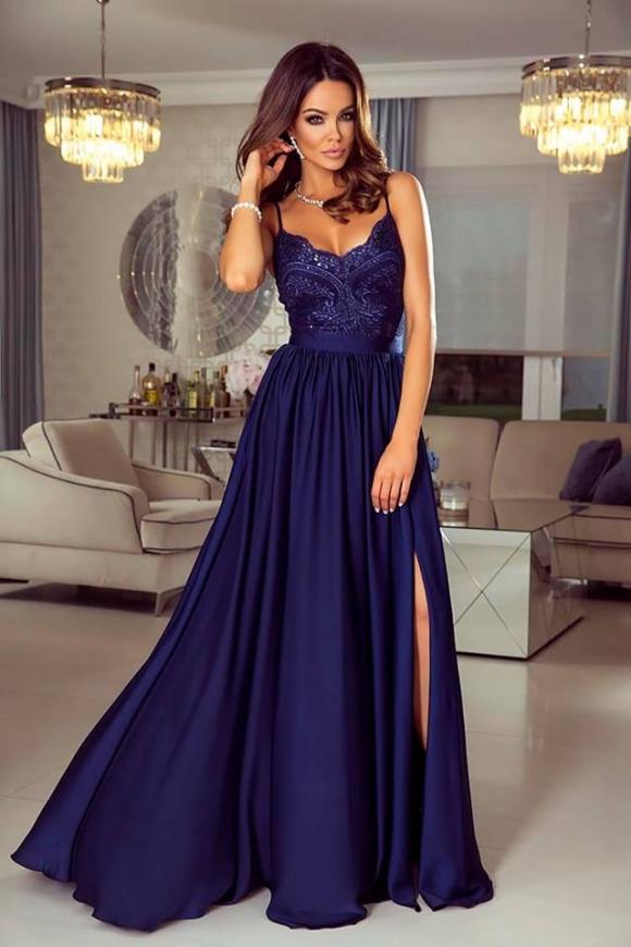 38e40d5882 Długa granatowa suknia wieczorowa na cieńkich ramiączkach - Bella