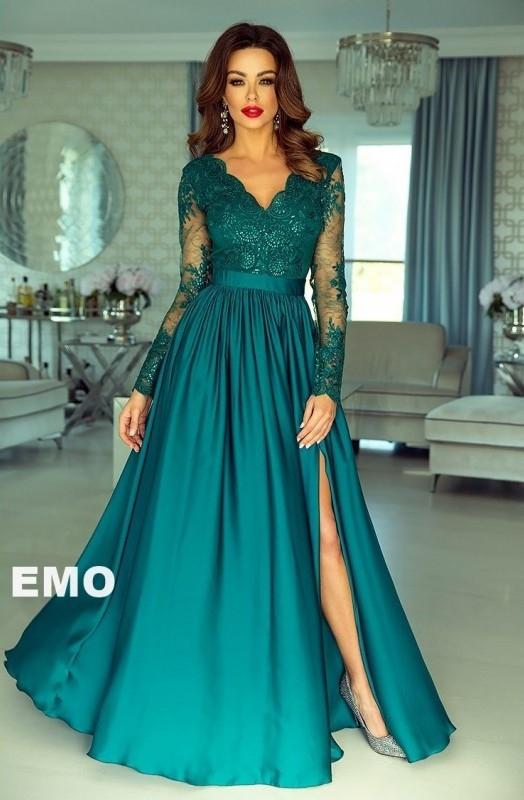 28858aa8b2 Długa wieczorowa suknia w kolorze szmaragdowym
