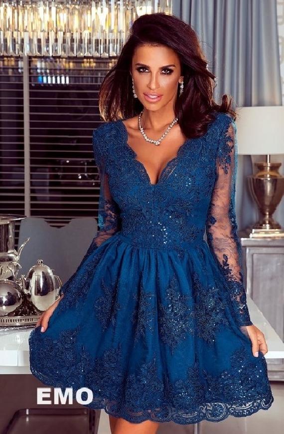 Granatowa sukienka koronkowa z cekinami - Amelia