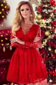 Czerwona koronkowa sukienka rozkloszowana - Amelia