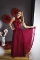Wieczorowa bordowa długa sukienka zdobiona gipiurową koronką - Kwiatami 3D