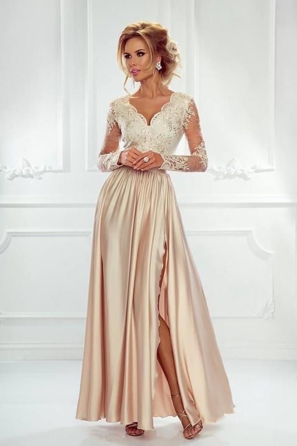 131c9ef5ce Długa suknia wieczorowa w pięknym jasno złotym kolorze - Luna