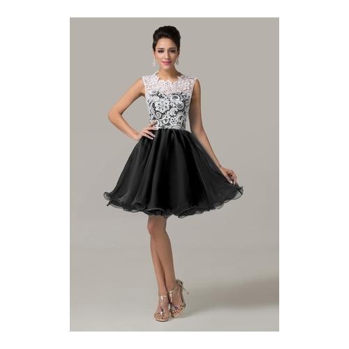 Krótka wieczorowa sukienka z obfitym dołem
