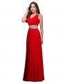 Czerwona długa suknia w stylu greckim