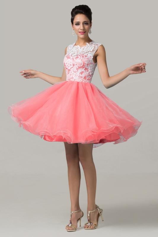 Organzowa sukienka wieczorowa z koronkową górą - biało koralowa