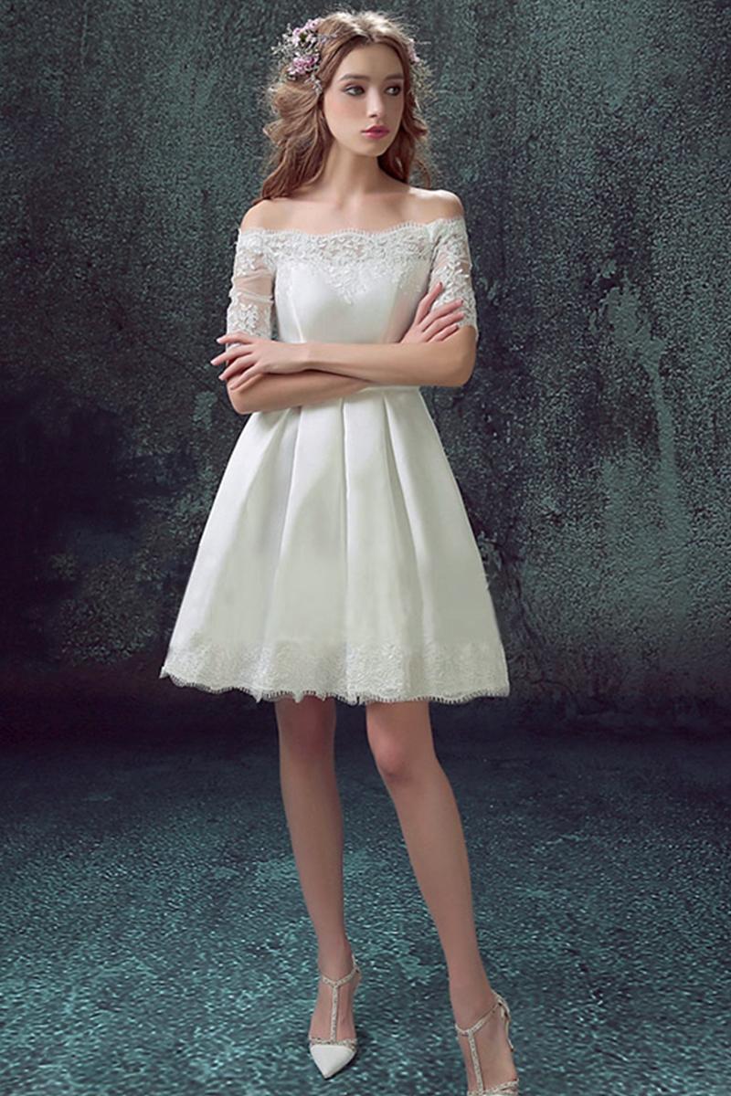4d31223637 Biała sukienka ślubna z odkrytymi ramionami - Sklep internetowy StyliJa