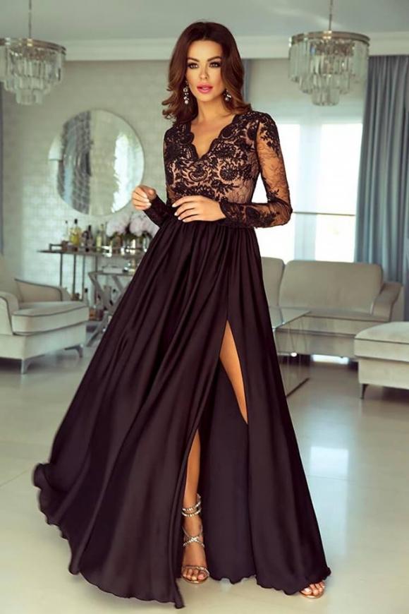 49b5d27d24 Długa suknia wieczorowa w pięknym jasno złotym kolorze - Luna