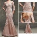Przepiękna sukienka o kroju syreny zdobiona gipiurową koronką -pustynny róż