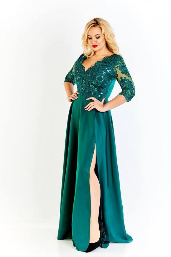 57c87c8213 Długa wieczorowa suknia plus size w kolorze szmaragdowym Crystal