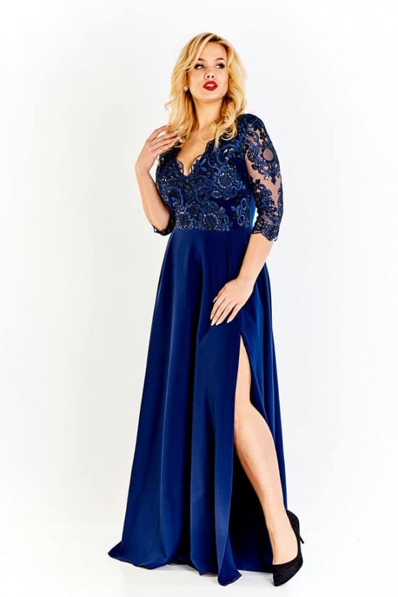 1b9457cce6 Granatowa długa sukienka plus size