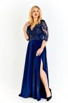 Granatowa długa sukienka plus size, Crystal