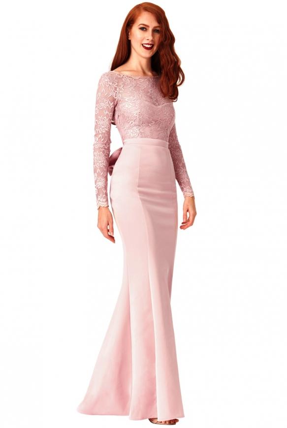 Długa sukienka wieczorowa z kokardą z tyłu - Goddiva pudrowo różowa- 987