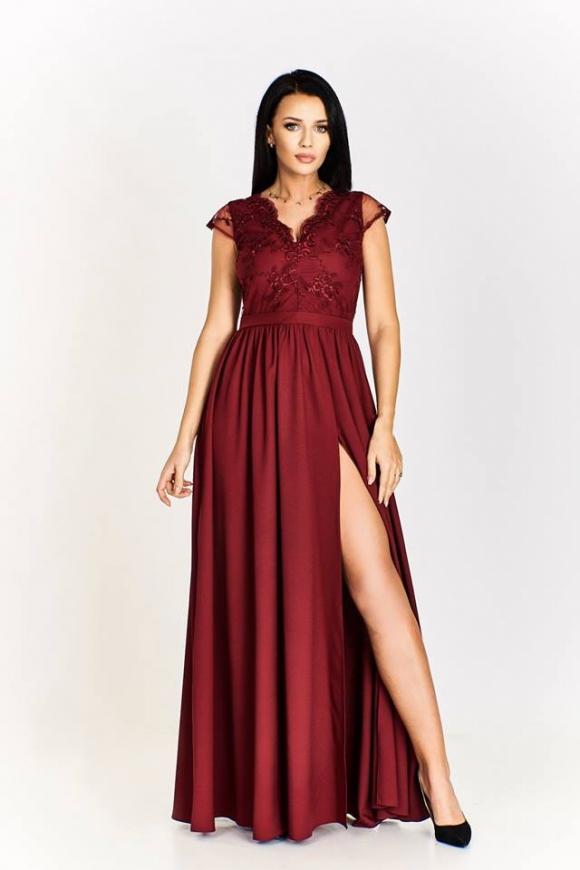1539bf7de7 Długa bordowa suknia wieczorowa w rozmiarze plus size Chantell