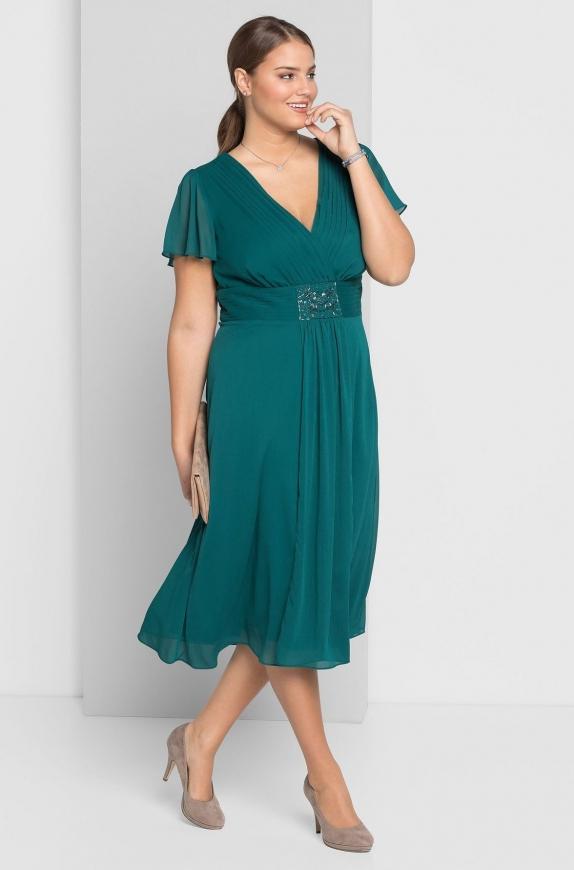 Szmaragdowa sukienka na wesele, studniówkę o długości 3/4, Sheego