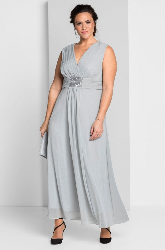 Długa szara suknia dla mamy Panny Młodej, Pana Młodego, Sheego