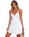 Biała letnia sukienka zdobiona koronką
