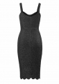 Gafitowa sukienka z połyskującą nicią na ramiączkach