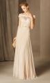 Długa suknia z koronkową górą i plisowanym dołem w kolorze waniliowym