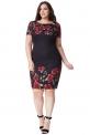 Czarna sukienka ołówkowa w róże Plus size