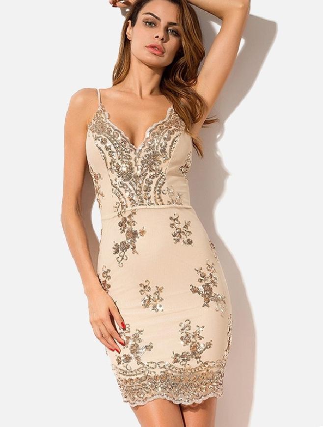 Dopasowana krótka sukienka z cekinami
