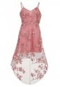 Różowa sukienka z wydłużonym tyłem