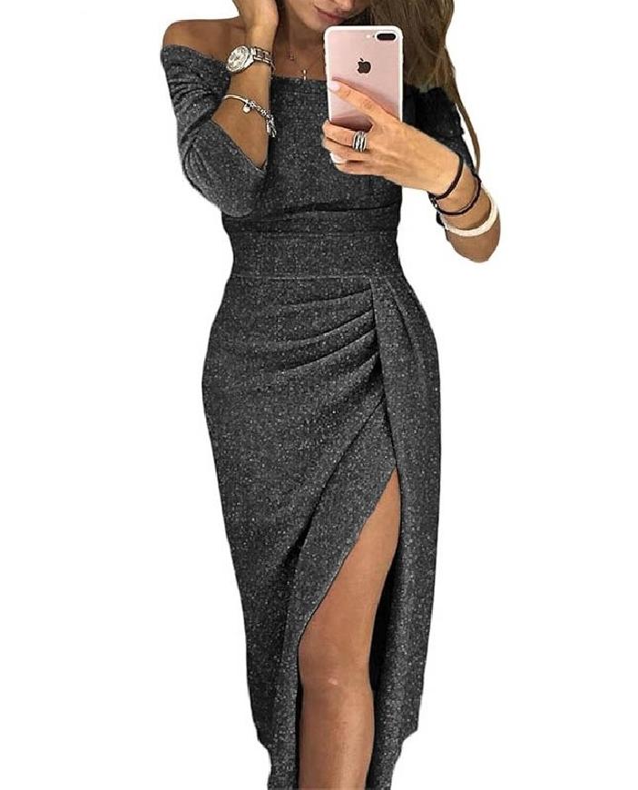 Sukienka grafitowa z odsłoniętymi ramionami
