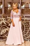 Długa sukienka z rozcięciem na spódnicy, jasno różowa Crystal
