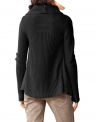 Czarny sweter z kożuszkiem i wywiniętym kołnierzem