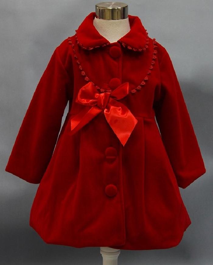 Ciemno czerwony płaszcz z kokardą dla dziewczynki